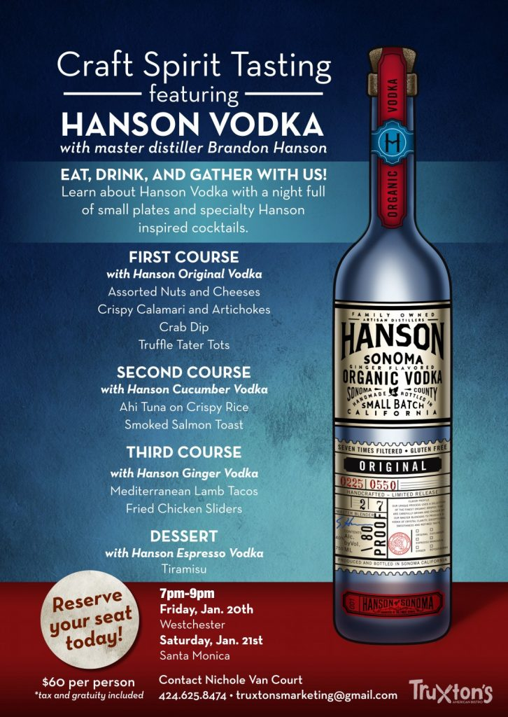 Craft Spirit Tasting featuring Hanson Vodka Menu
