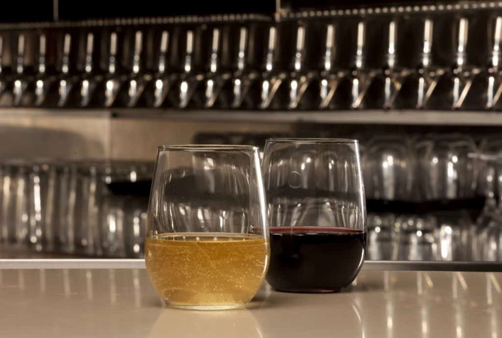 stemless wine classes on a counter