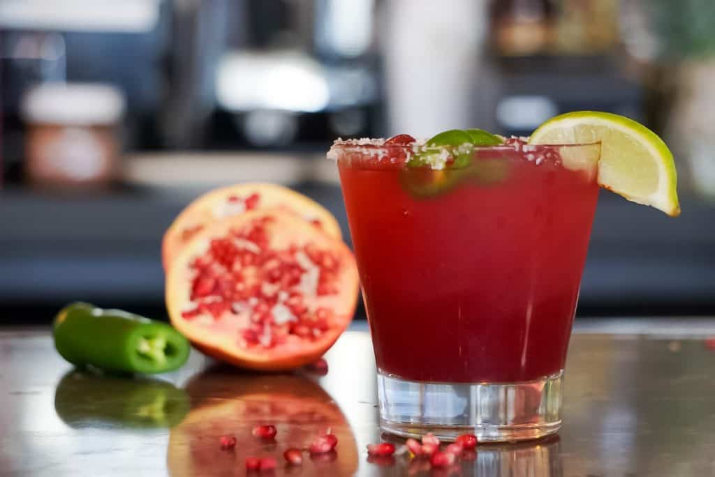 Pomegranate Margarita with Jalapeno in glass